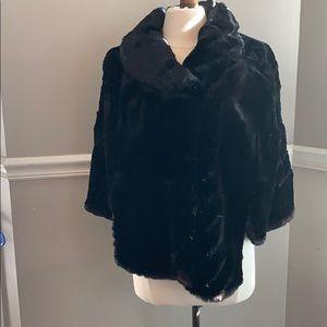 Black Real Fur Capelet